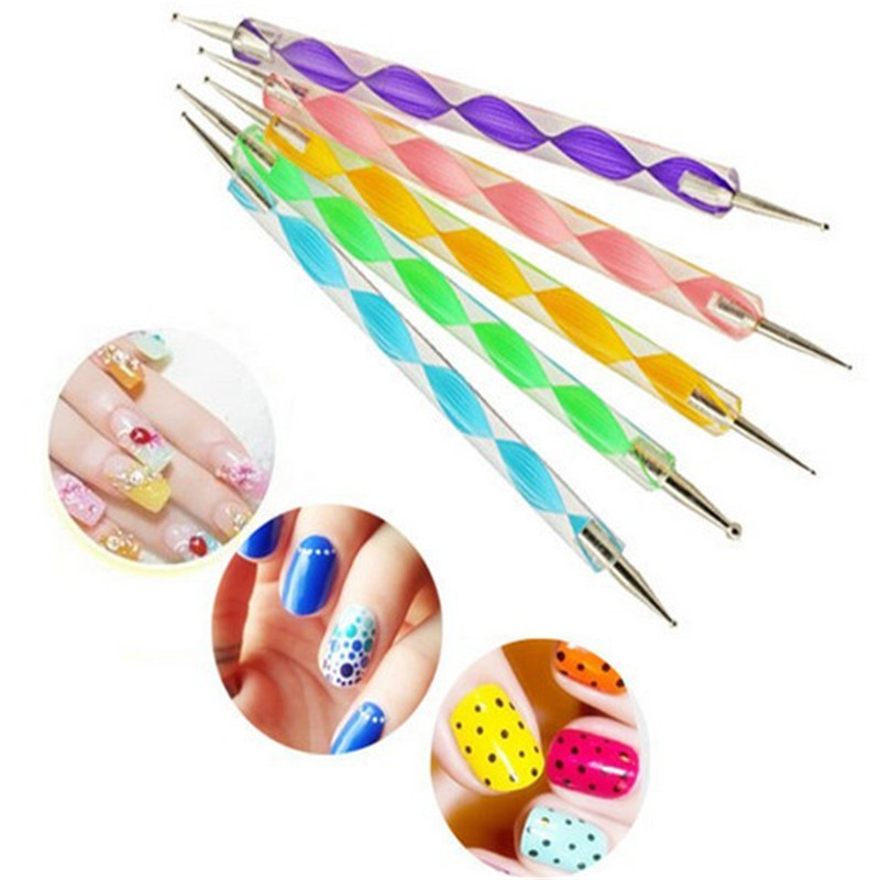 5pcs 2way Nail Dotting Pen Set 5 Colors Marbleizing Tool Art Doting Paint Tools Manucure Accessoreis Painting