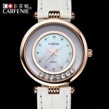 Carfenie Brand Women Watch Fashion Genuine Leather Band Quartz Wristwatch Ladies Dress Watch Clock Waterproof Relogio Feminino