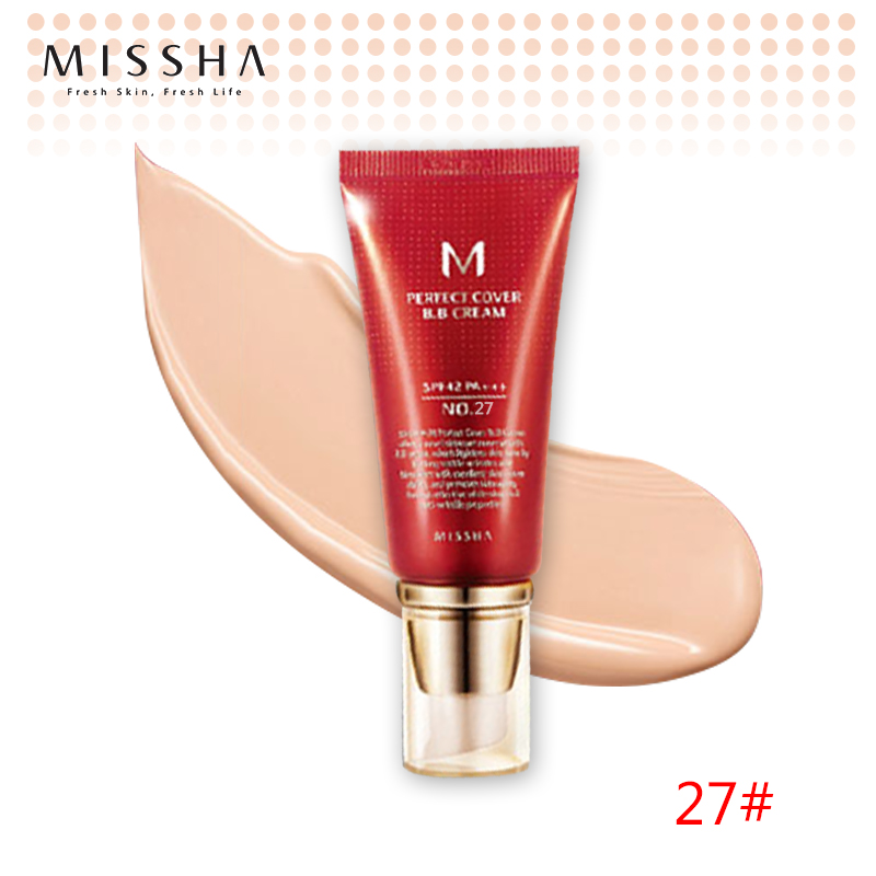 Best Korea Cosmetics MISSHA M Perfect Cover BB Cream 50ml SPF42 PA+++ (NO.27Honey Beige ) Foundation Makeup Perfect BB Cream missha m perfect cover bb cream spf42 pa 50ml original korea missha perfect cover bb cream shipping from korea