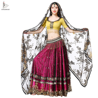 Women Indian Belly Dance Carnival Bollywood Sari Hand embroidered Costume Set 4 PCS Top Belt Skirt Sari Outfits Performance