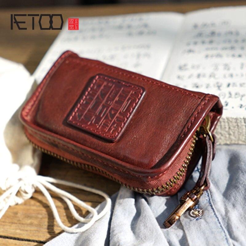 AETOO Vintage main en cuir suédé clés en cuir sac carte sac bourse de voiture couple unisexe