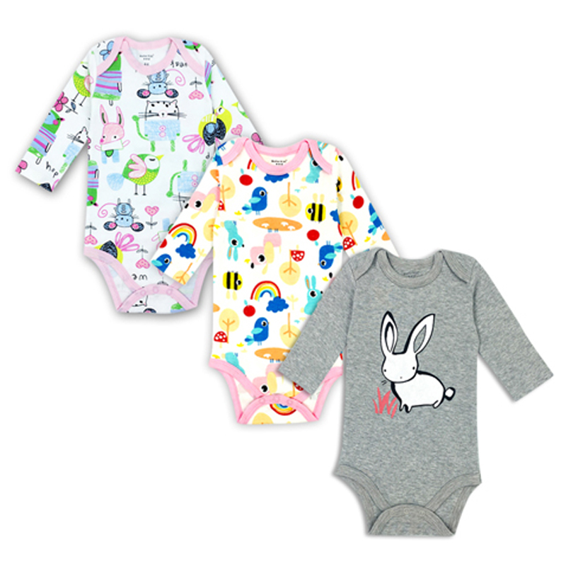 newborn bodysuit baby girl boy clothes long sleeve cotton printing 3 pack infant clothing 0-24 Months