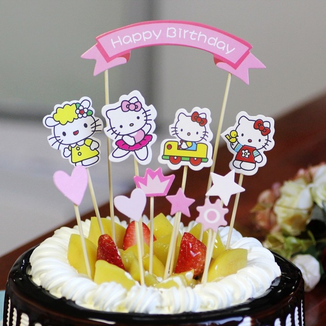 10 Satze Los DIY Disny Mickey Minnie Kitty Superman Happy Birthday Kinder Party Kuchen Zubehor