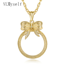 Bow design 2015 cute Magnifying glass necklace fashion magnifying glasses for reading pendant with chain