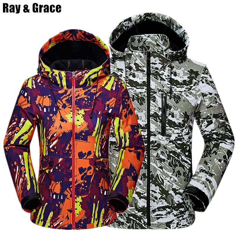 RAY GRACE Autumn Outdoor Hiking Women Men Jacket Waterproof Windproof Coat Sports Camping Trekking Climbing Hood