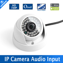 "1/4"" CMOS Sensor Indoor 1.0MP 720P IR-Cut Filter Dome IP Camera IR 20M Night Vision 3.6mm Lens Security CCTV Camera With Audio"
