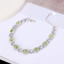 gemstone jewelry factory wholesale white 925 sterling silver natural green peridot adjustable beaded bracelet for women