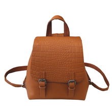 2017, Новая мода Дамские туфли из PU искусственной кожи рюкзак крокодиловый принт Школьные сумки сплошной Цвет женские сумки на плечо Женская зимняя обувь повседневная сумка