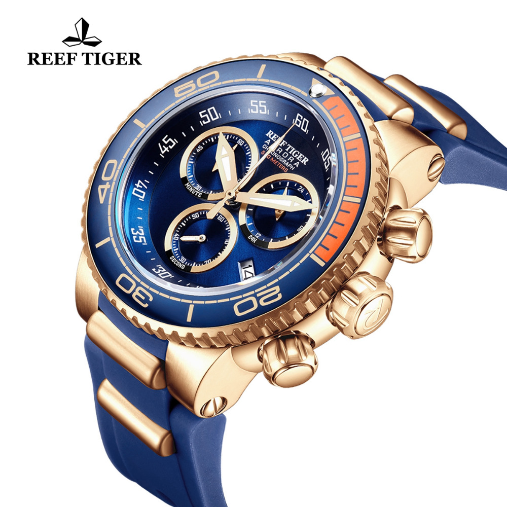 Reef Tiger/RT Top Brand Luxury Blue Sport Watch for Men Rubber Strap Rose Gold Waterproof Watches Relogio Masculino RGA3168