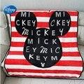 Disney Cartoon красное Полосатое мягкое фланелевое одеяло с Микки Маусом для девочек  детское одеяло на кровать  диван  110x150 см  детский подарок