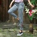 Уличный Стиль Мода Леди Ретро Высокой Талии Джинсы Шаровары Брюки Женщины Осень-Весна Мыть Белый С Вышивкой