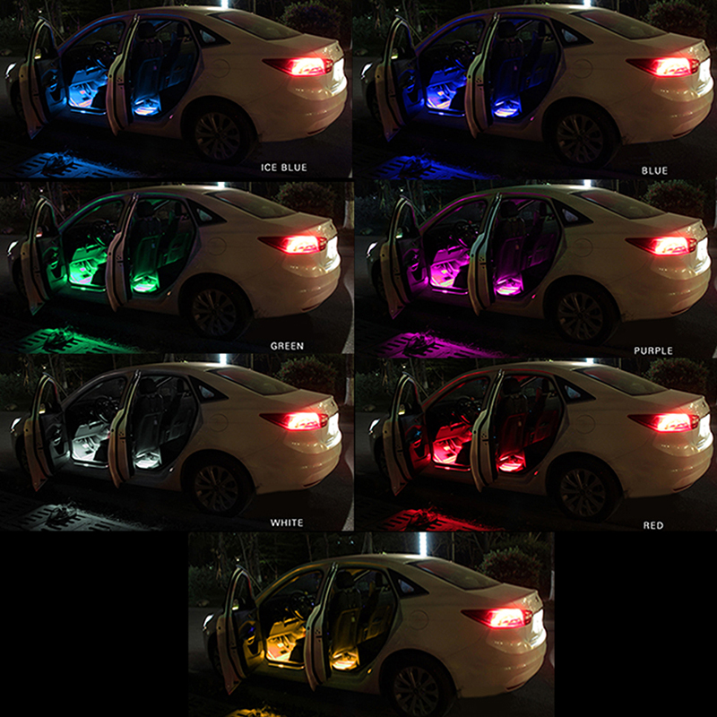 RGB 2x 16 LED 12V Glow Interior Decorative USB 2in1 Atmosphere Inside Foot  Strip Light Lamp