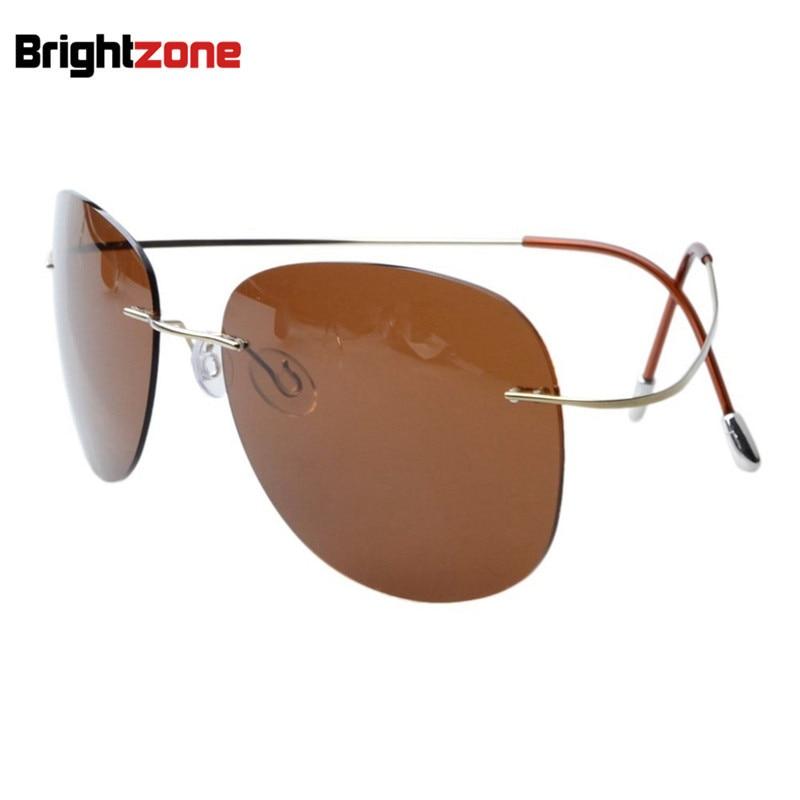 2019 Super Light Weight Brightzone Rimless Titanium Frame Polarized SunglassesOversizes Sun Glasses Eye Anti UVA UVB