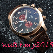 2017 Newest Hot brand Luxury 46mm Corgeut Black Dial mixed strap rose golden plated bezel quartz Mechancial Men's Wristwatches
