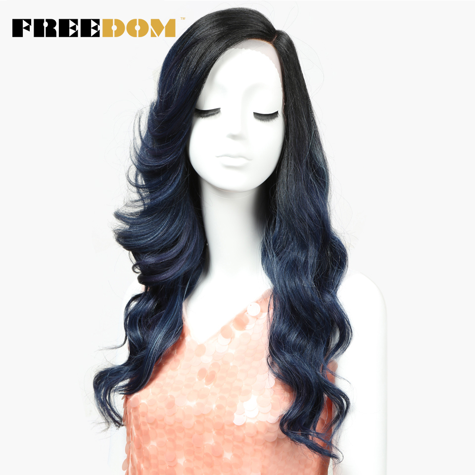 FREEDOM Lace Front Wig Synthetic Loose Wave Long Side Part Ombre Wigs For Black Women Heat Resistant African American Hair