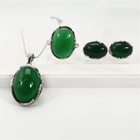 Natural Green Chalcedony Red Agate S925 Vintage Jewelry Set 925 Sterling Silver Gem Stone Women Necklace Stud Earrings Ring Sets