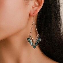 все цены на New fashion simple geometric tassel earrings ethnic style women zircon long paragraph fairy earrings earrings wholesale hot sale онлайн