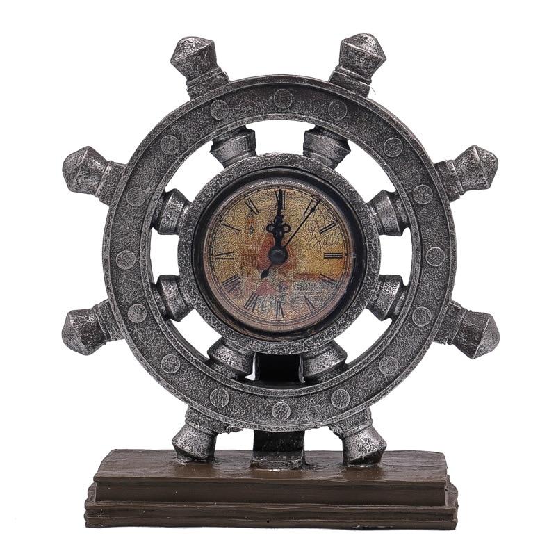 Europe Retro Nostalgic Resin Rudder Ornament Marine Style Rudder Clock Model Miniature Props Home Decoration Desktop Crafts Gift