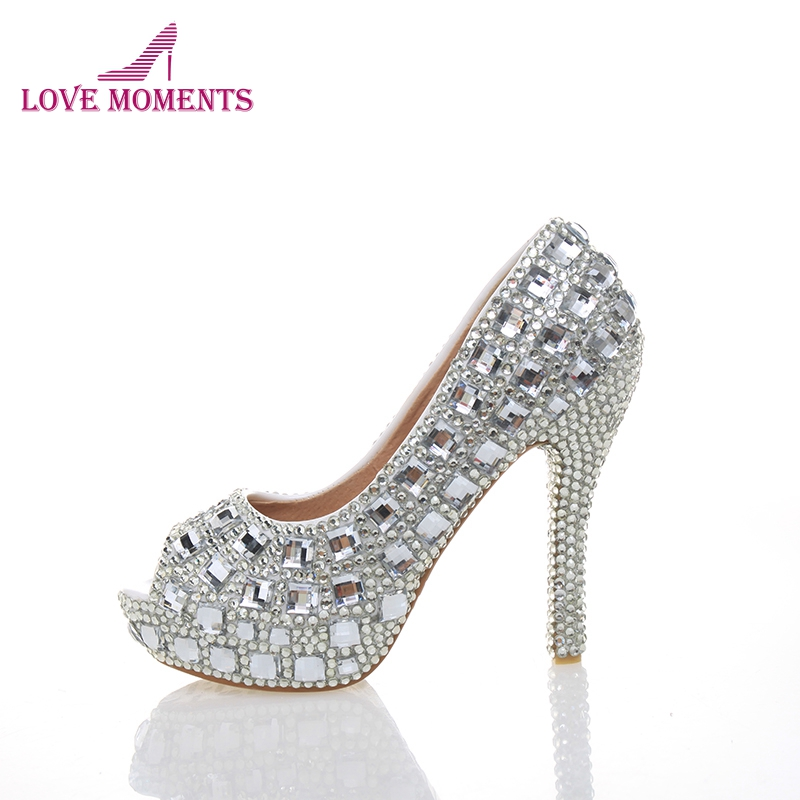 Free Shipping Peep Toe Crystal High Heel Wedding Shoes Silver Bridal Dress Shoes Woman Nightclub Party Banquet Dress Women Shoes 20 colors custom 2016 ladies silver crystal high heel bridal shoes peep toes size 10 free shipping