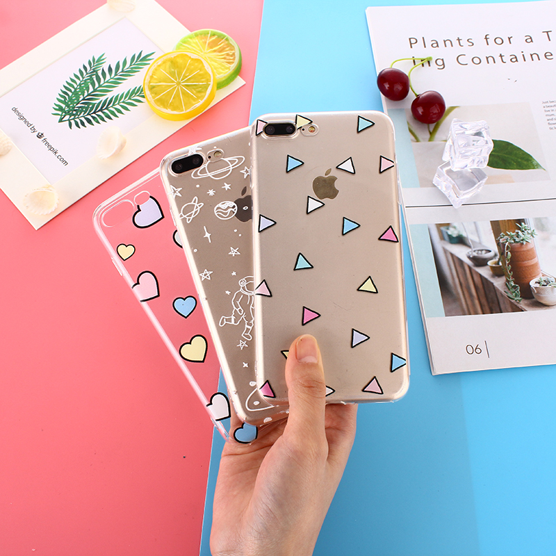 TPU Soft Cases For iPhone 7 8 Plus Transparent Printing Drawing Silicone Phone Cases Cover For iPhone X 6 6S Plus Clear Coque