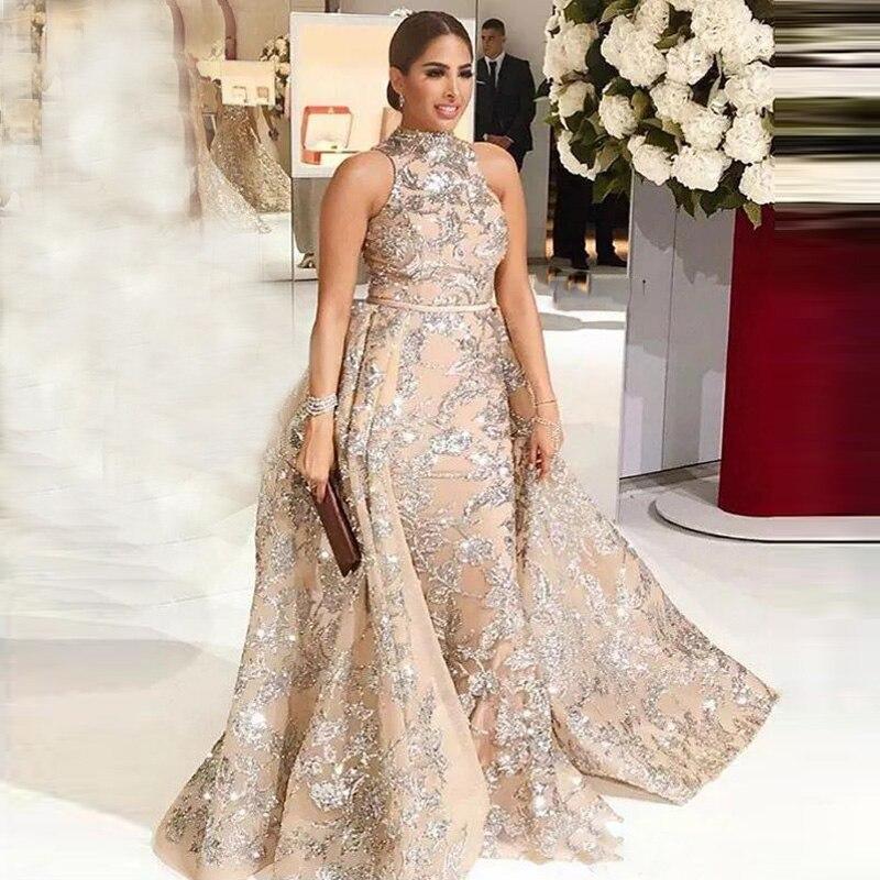 SexyLuxury robes de soirée longue 2019 paillettes scintillantes avec Train détachable saoudien arabe formelle robe de soirée de bal