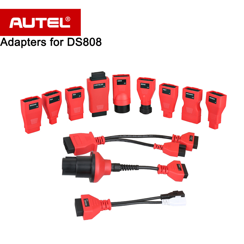 Autel DS808K Full kit for OBD I Diagnostic DLC Connectors/Adapters/Cables for Vehicles before 2002 12 Different Interface etc. full set vcs cables with adapters for vcs vehicle communication scanner interface car diagnostic cable free shipping