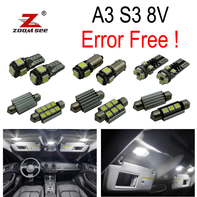 17pc X LED lamp Interior dome bulb Kit Package Reverse light for Audi A3 S3 8V Sedan Quattro Sportback  Limousine  (2014+) 27pcs led interior dome lamp full kit parking city bulb for mercedes benz cls w219 c219 cls280 cls300 cls350 cls550 cls55amg