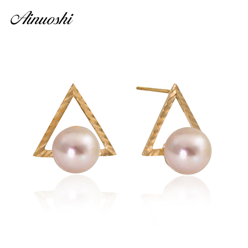 AINUOSHI 18K Yellow Gold Stud Earrings Natural Cultured Freshwater Pearl 6-6.5mm Round Pearl triangle Earrings Jewelry triangle pearl earrings