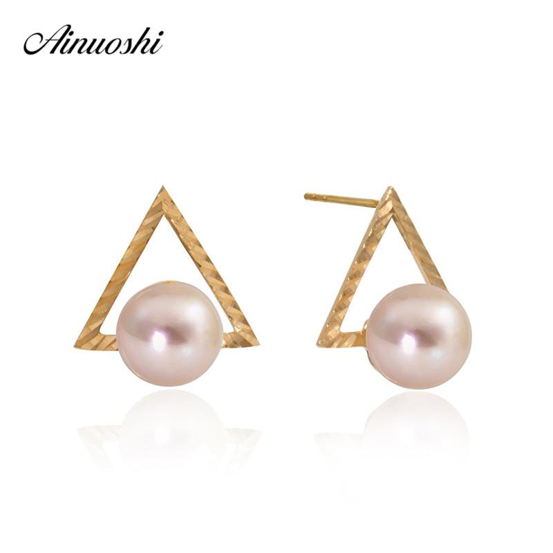 купить AINUOSHI 18K Yellow Gold Stud Earrings Natural Cultured Freshwater Pearl 6-6.5mm Round Pearl triangle Earrings Jewelry онлайн