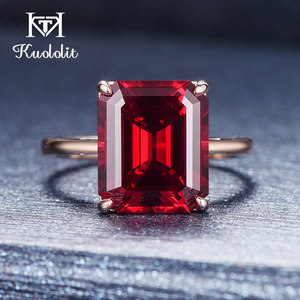 Image 4 - Kuololit 7.4ct 10K Solid Gold customize Lab Grown Ruby Ring for Women 10x12mm Ruby Rose gold Rings Engagement bride Fine Jewelry