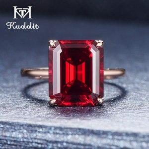 Image 4 - Kuololit 7.4ct 10k sólido ouro personalizar laboratório crescido rubi anel para mulher 10x12mm rubi rosa anéis de ouro noivado noiva jóias finas