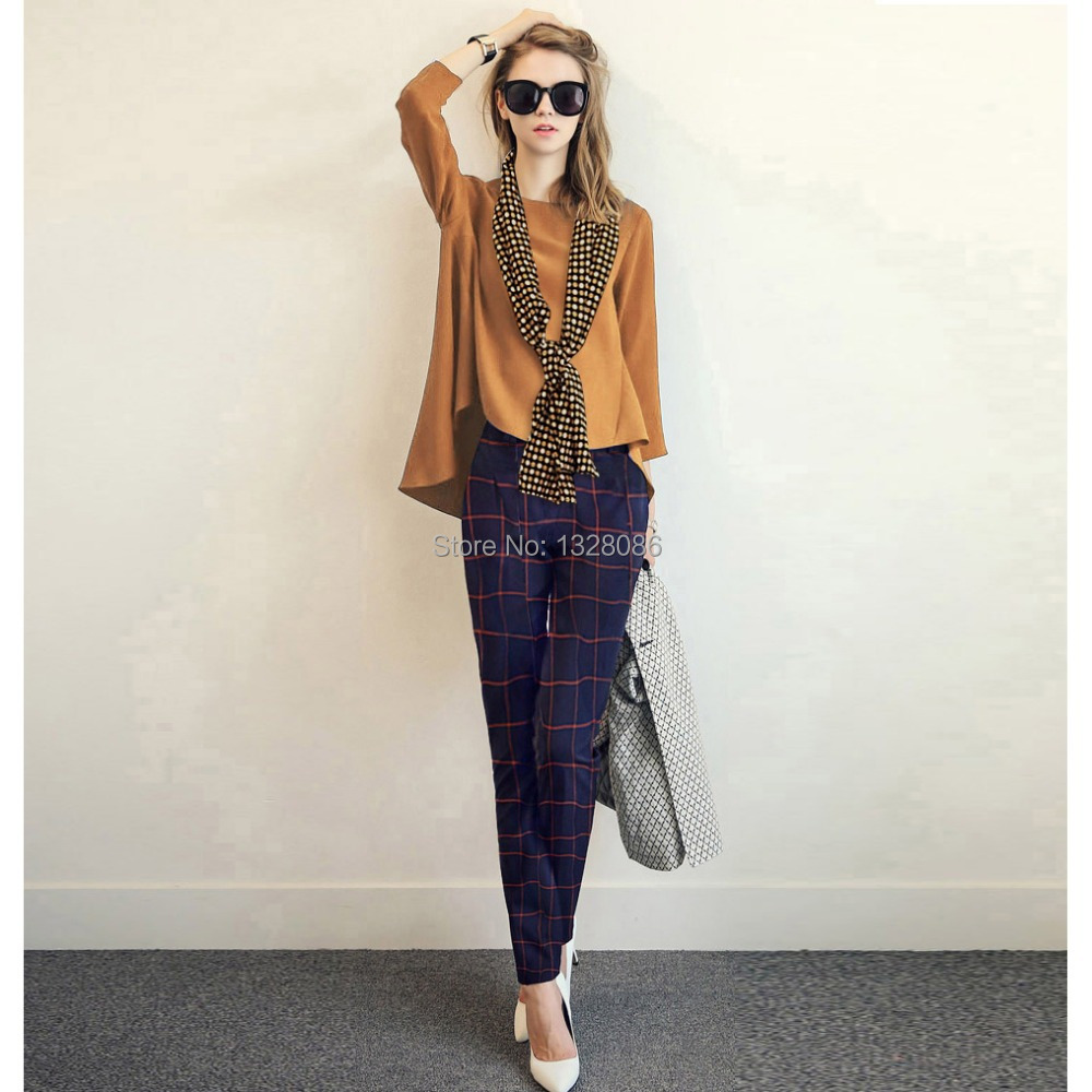 new spring autumn women 3 4 blouse plaid pants set plus size 2xl casual brown chiffon top blue. Black Bedroom Furniture Sets. Home Design Ideas