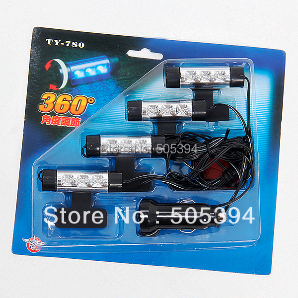 4x 3 Leds Car Interior Blue Neon Lights Cigarette Lighter Powered Free Shipping 8545 In Signal
