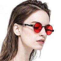 Feishini панк 2019 Металлические поляризованные солнцезащитные очки Для мужчин Круглый розовые солнцезащитные очки покрытие под старину винтаж...