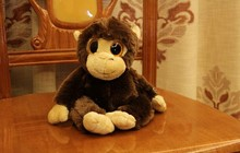 cute small long arm monkey doll creative big eyes monkey doll gift about 30cm dark brown