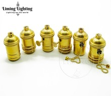 100pcs/pack Brass Copper Lamp Holder Electric Light Socket With Or Without Switch And Threaded Shade Fitter DIY Lighting Base