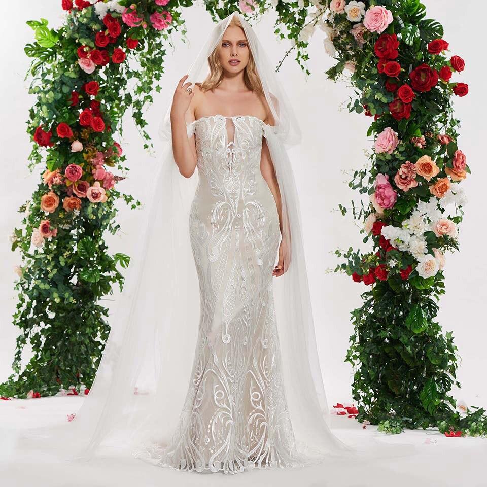 Spaghetti Strap Lace Mermaid Wedding Gowns: Dressv Long Elegant Wedding Dress Mermaid Mariage