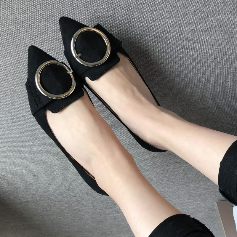 Sexy Pointed Toe Women Basic Flats Shoes Spring Autumn Metal Button Flock Slip On Ballet Flats For Woman Ladies Single Shoes new flock high big size 11 12 women shoes wedges pointed toe woman ladies butterfly knot casual spring autumn sweet single shoes