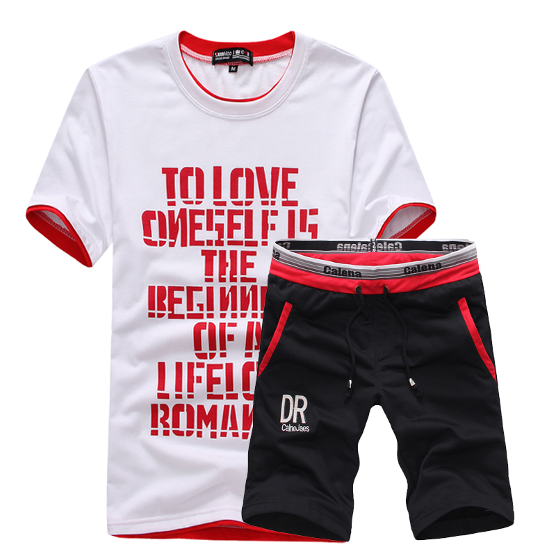 2018 Summer Men's Casual Sets , Comfortable Round Neck Breathable Short-sleeved T-shirt + Shorts Suits, College Print Men's Sets