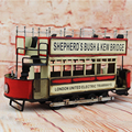 1901 Classic Double Decker Bus Model 100% Handmade Iron Sheet Model London Retro Metal Bus Scooter Decoration Sheep Kid