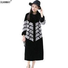 高品質冬の新しいレディ長い模造毛皮のコートファッションカジュアル肥厚暖かい大サイズ模造水ミンクコート
