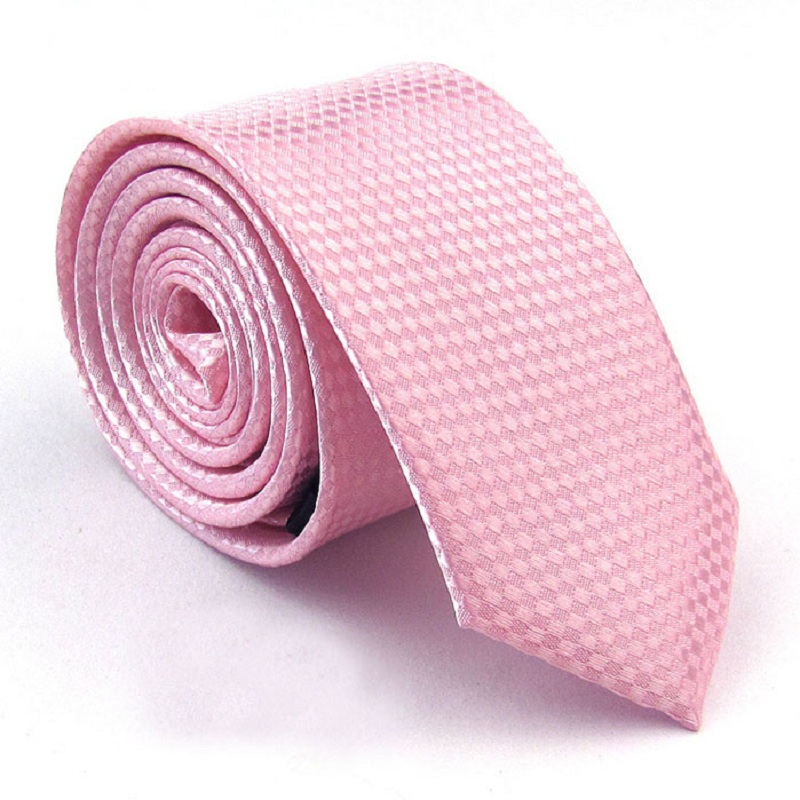 Fashion Slim Tie Solid Color Ties For Men Polyester Necktie Party Gift Cravat Pink Ascot