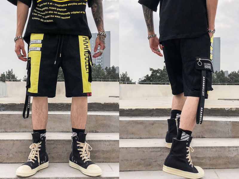 Side Ribbon Zipper Pockets Cargo Baggy Shorts 2