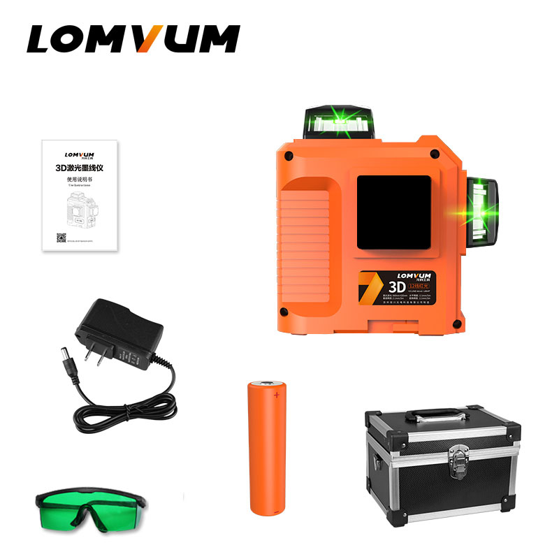 LOMVUM Laser Level 12lines 3D 360 degree rotary laser line leveling green red line precise adjustment indooroutdoor laser level a8832g akg2 green laser level 2 lines1dot 360 degree rotary spirit level indoor outdoor dual use
