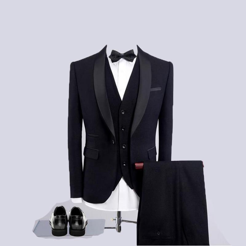 (Jacket+Vest+Pants)2019 Black Slim Fit Men's Wedding Suits Blazer Business Mens Formal Wear High Quality Men's Casual Suits