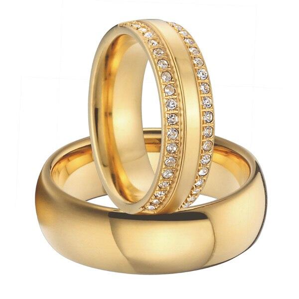 luxury Cubic Zirconia alliances gold colour titanium steel jewelry couples wedding bands promise rings sets 1 pair