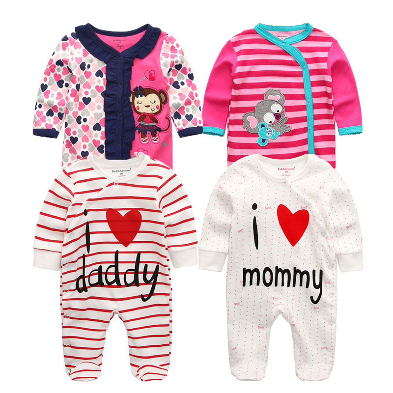 bb679888714 2018 3 4 5PCS lot Newborn Baby Boy Rompers Full Long Sleeve Cotton Jumpsuit  O Neck 0 12M Baby Body Clothes Inftant Girl Clothing-in Rompers from Mother  ...