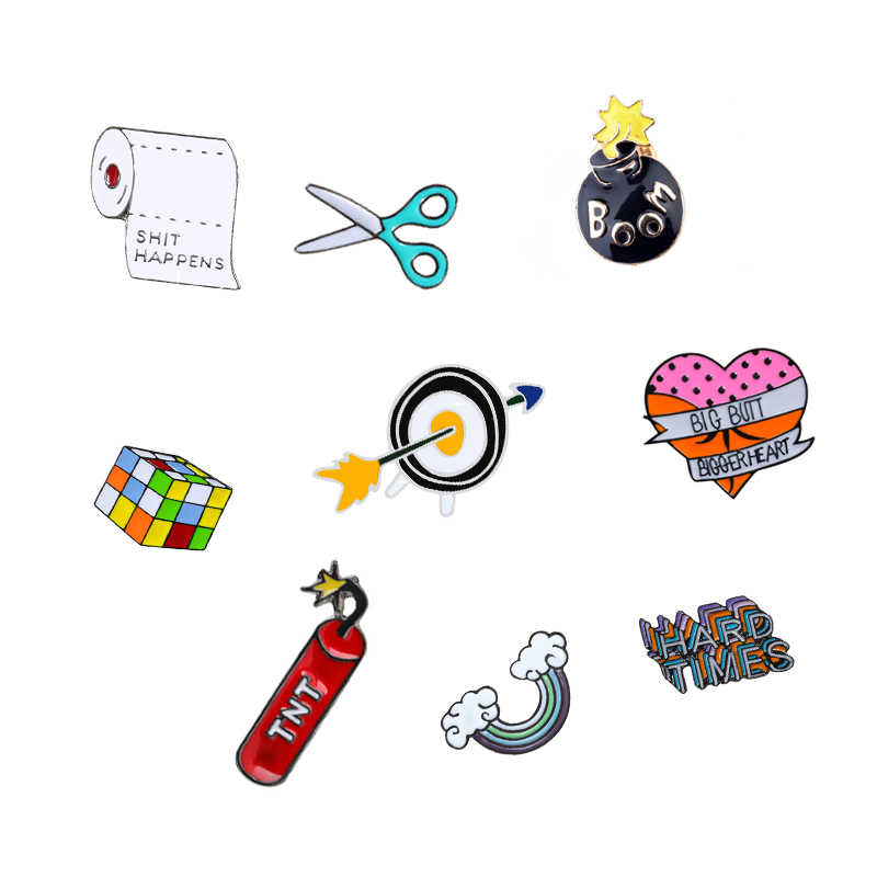 12 style Cube pin funny scissors glasses rainbow brooch denim badge enamel pins button needle party man women shirts Jewelry