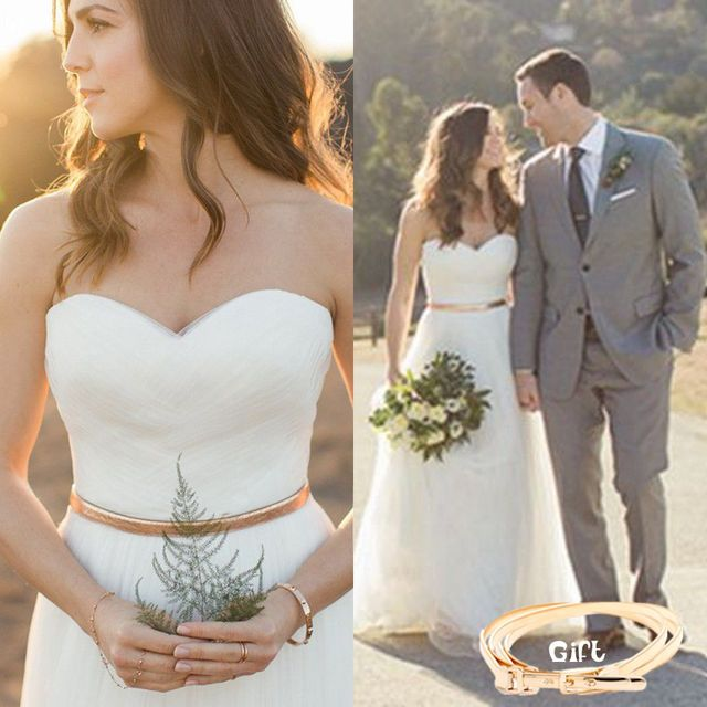 White Simple Country Wedding Dresses Sweetheart Pleated Gold Belt ...