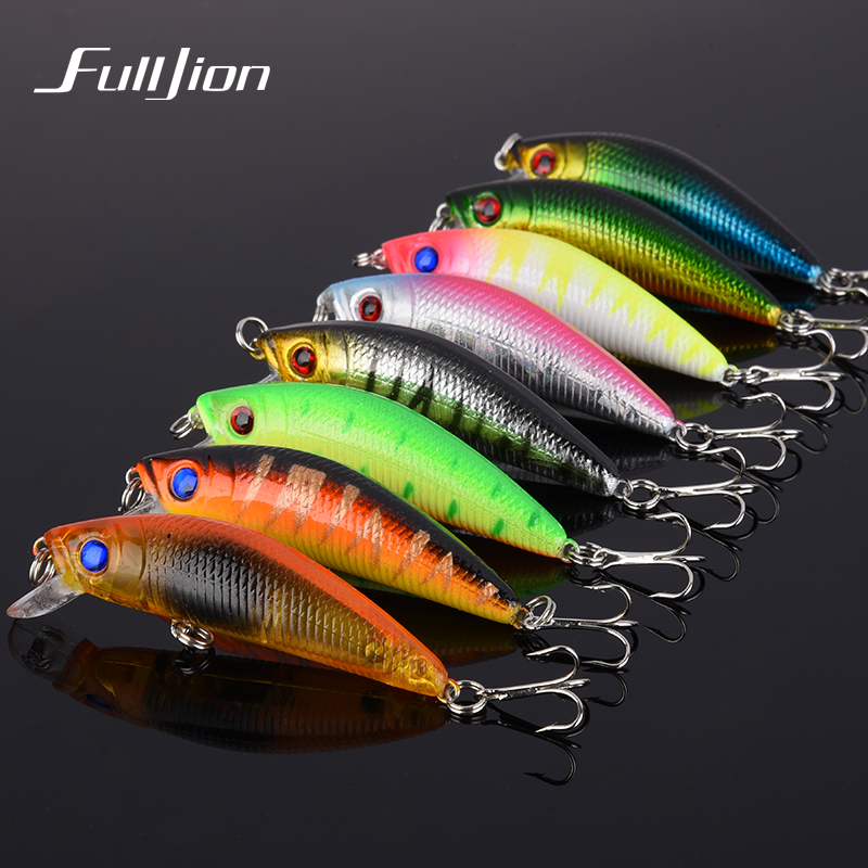 8PCS/LOT Fishing Lures Wobbler Hard Bait Minnow Tackle 3D Fish Eyes Hooks Diving Perch Fishing Accessory Bright Colorful 5.8cm wldslure 1pc 54g minnow sea fishing crankbait bass hard bait tuna lures wobbler trolling lure treble hook